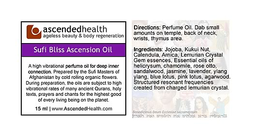 Sufi Bliss Ascension Oil Label
